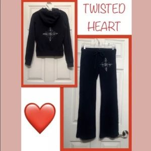 TWISTED HEART TRACKSUIT LOUNGE SET HOODIE PANT NEW